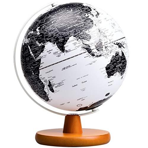 Iluminado Globo del mundo con el soporte - Función de luz se enciende durante la noche Vista - Fácil de leer las etiquetas de los continentes, países, capitales y maravillas naturales, diámetro de los