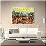 CXArtprint Cuadro de póster de Arte Árbol de Oliva bajo el Sol de Van Gogh Artista Famoso Impresionismo Cuadro de Pared Póster y decoración Impresa 20x30cm sin Marco