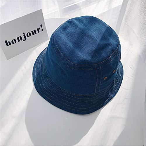 JINRONG Diseño Original De Japón - Un Nicho De La Industria Eólica Agotadoras Washed Denim Sombrero Gaga Japonesa Retro Pot Sombrero (Color : Dark Blue, Size : One Size)