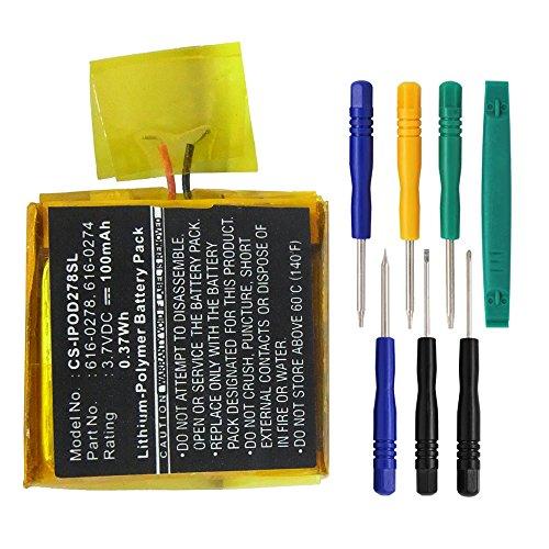 techgicoo 100mAh/0.37wh Akku kompatibel mit Apple iPod Shuffle G21GB, iPod Shuffle G3(7/PCs toolskits enthalten)