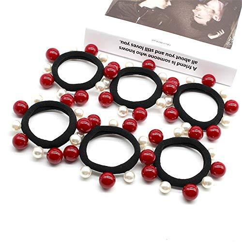 50 piezas de anillo de alta elasticidad sin fisuras costura anillo del pelo blanco Cinco Cinco Rojo Tamaño de la toalla perla anillo de cuerda Accesorios for el cabello Head Cuerda de Pelo Duradera