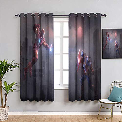 Blackout Curtains for Bedroom Captain America and Iron Man Grommet Blackout Curtains Window Curtain Drape W42 x L63