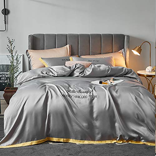 FGVBC Bedding Set Full Size, Bedding Set Full Silk Satin Pink Sets Double King Luxury Full Size Twin Duvet Covers Bed Quilt Cover Flat Sheet Soft Modern Simplicity