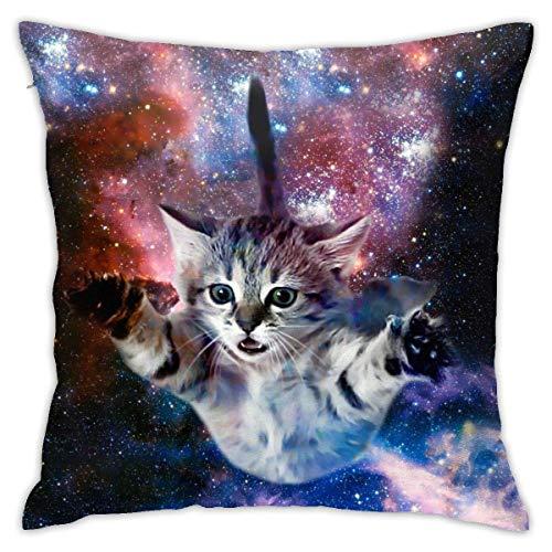 Cute Novelty Funny Galaxy Space Cat Throw Pillow Cover 18'X18', Double Side Design Bolster Pillowcase, Decorative Cushion Pillow Case for Car Sofa Theme Brithday Party Bedroom Decor Kid Girls Boys
