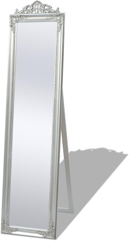 Festnight Free-Standing Mirror Floor Mirror Dressing Mirror Bedroom Furniture Baroque Style 160x40 cm Silver