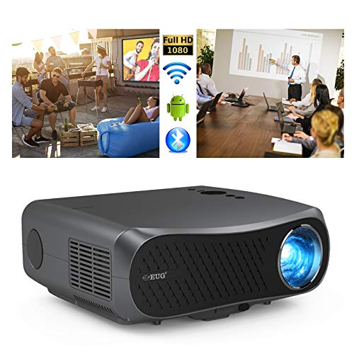 1080p Projector Bluetooth Full HD 7000lumen LED LCD Outdoor Movie Projectors Wireless Smart Android OS, with HDMI USB Built-in Speakers Support 4K Home Theater Projectors