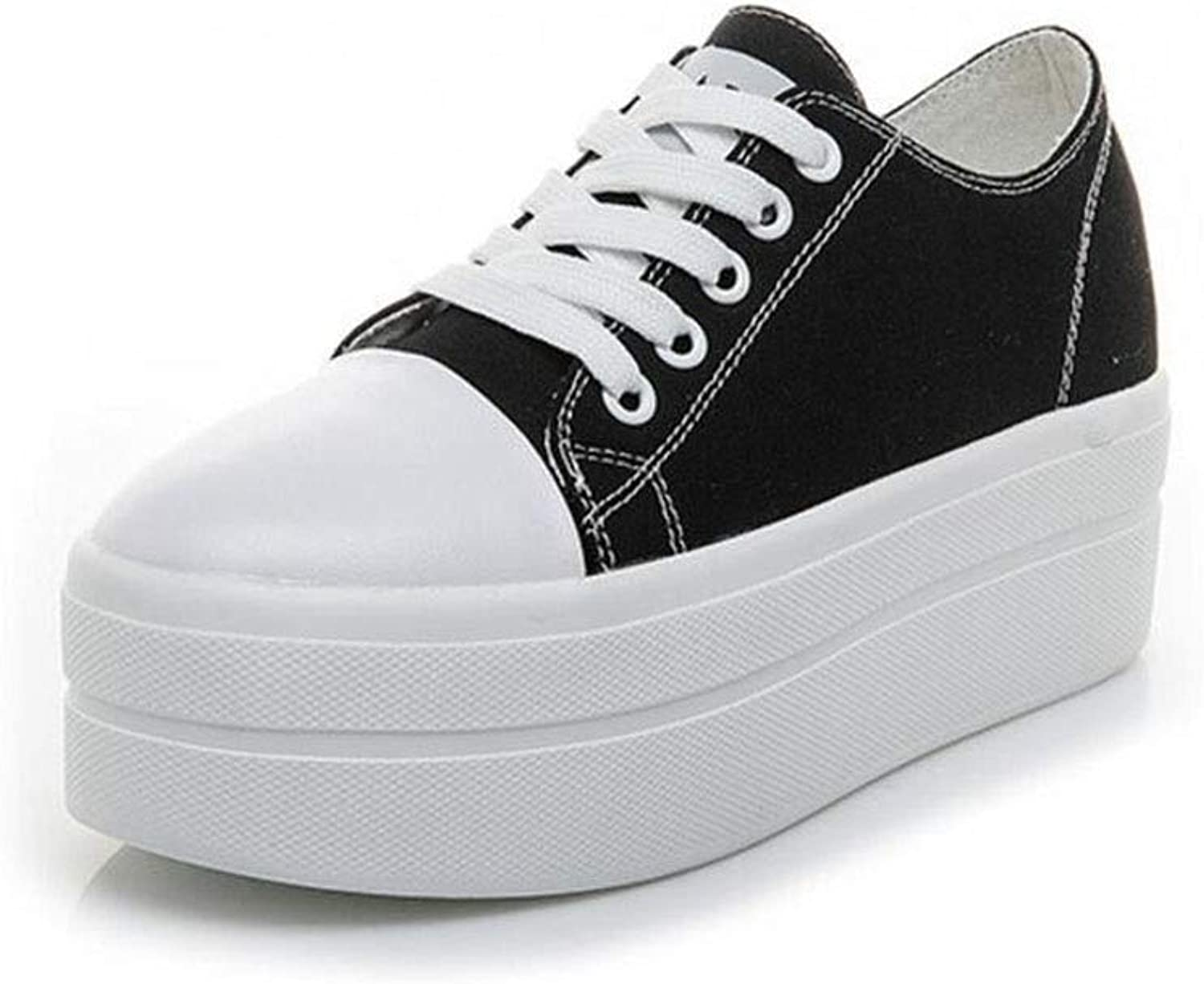 Women's Canvas shoes Casual Sneakers Low Cut Lace Up Fashion Comfortable Walking Flats, Women's Canvas Low Top Sneaker Lace-up Classic Casual shoes Black and White (color   Black, Size   5.5 US)