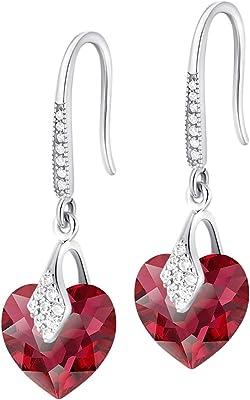 Crystals & Stones – Orecchini a forma di cuore in argento 925 – Scarlet – Orecchini con cristalli Swarovski® – bellissimi orecchini da donna – meravigliosi orecchini con scatola regalo