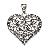 925 Sterling Silver Marcasite Heart Pendant Charm Necklace Love Fine Jewelry For Women Gifts For Her