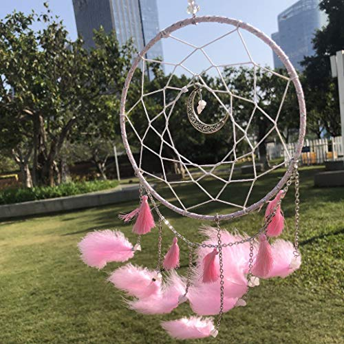 WOWDING Dream Catchers Handmade Feather Native American Circular Net for Kids Bed Room Wall Hanging Home Decoration Decor Nursery Wall Art Ornament Craft Festival Gift