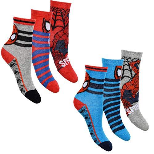 Spiderman 6er Pack Jungen Socken Strümpfe mit vielen verschiedenen Muster und Designs (Spiderman Mix 9, 27-30)