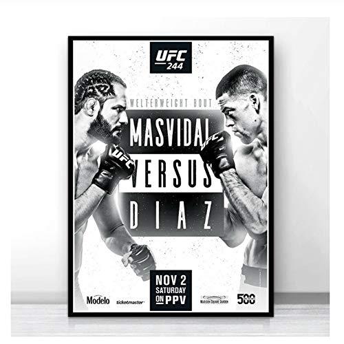 nr Poster Wandkunst UFC 244 Nate Diaz vs Jorge Masvidal Kampf Druck Bild Drucke Leinwand Malerei Für Home Room Decor-50x70 cm Kein Rahmen