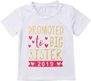 Sibling Shirts for Sister and Brother to be Big Brother and Sister Shirts 2019 Letter Print Matching T-Shirt Outfits