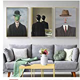 HHLSS Nordischer Stil 3x50x70cm ohne Rahmen Rene Magritte