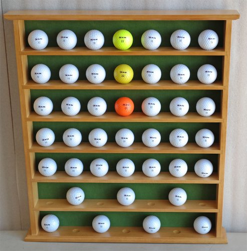 Best Price! Top Stage 49- Golf Ball Display Case Wall Cabinet, Oak Finish, Wall Hanging, GB20-OA