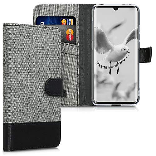 kwmobile Wallet Hülle kompatibel mit TCL 10 Pro - Hülle mit Ständer - Handyhülle Kartenfächer Grau Schwarz