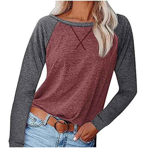 UEsent Camiseta de manga larga para mujer, cuello redondo, sudadera para verano, informal, holgada, suelta., Vino, XL