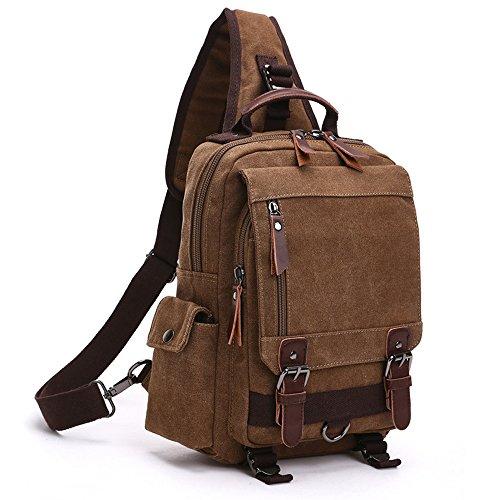 Minetom Lona Backpack Mochilas Escolares Mochila Escolar Casual Bolsa Viaje Moda Bolso De Bandolera Sencillo Unisex Café Version A(29 * 11 * 33 Cm)