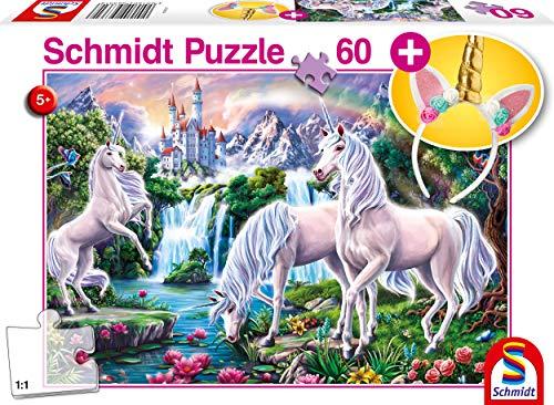 Schmidt Spiele Puzzle 56331 Traumhafte Einhörner, inklusive Haarreif, Kinderpuzzle, 60 Teile, bunt