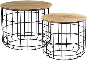 LIFA LIVING Tavolini da Salotto Moderno Set da 2 | Coperchio Rimovibile per Funzione Cestino | Tavolino Design Legno e Metallo | capacità Fino a 20 kg