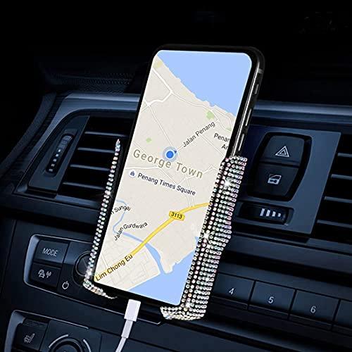 Supporto per telefono da auto, regolabile, a 360°, in cristallo, universale, per cruscotto auto (bianco)