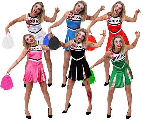 I LOVE FANCY DRESS LTD GRÜNE Zombie Cheerleader KOSTÜM + Jumbo POM POMS + GESICHTSFARBE + GEFÄLSCHTE Blut - PERFEKT FÜR Halloween Damen KOSTÜM KOSTÜM Frauen AMERIKANISCHE JUBELNFÜHRER UNIFORM (KLEIN)