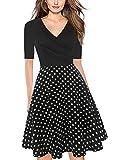oxiuly Women's Vintage Criss-Cross V-Neck Half Sleeve Polka Dot Party Cocktail Knee-Length Casual Dress LH233 (XXL, BK-Dot 5)