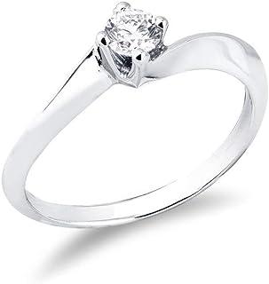 Gioielli di Valenza - Solitario griffe a quattro punte in oro bianco 18k con Diamante ct. 0,20 - SO33020BB
