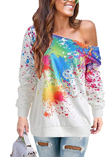 Women Loose Fit Paint Splatter Print Color Block Long Sleeve Tops Blouses Off Shoulder Sweatshirts White L