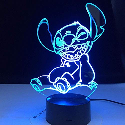 3D Illusion Lamp Led Night Light Cute Stitch Sitting Dog for Kids Children Baby Bedroom Decor Colorful Gift Desk Lamp