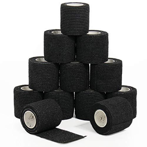 YUMAI Bandage Cohésif de Premiers Secours Ruban Adhésif Wrap 5CM * 4.5M (lot de 12, Noir)