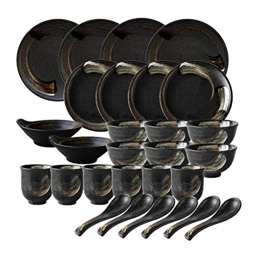 Juego de vajilla resistente, juego de vajilla de cerámica, estilo retro japonés, juego de vajilla de porcelana de 28 piezas / juegos de platos y cuencos circulares de oro negro para restaurante y mic