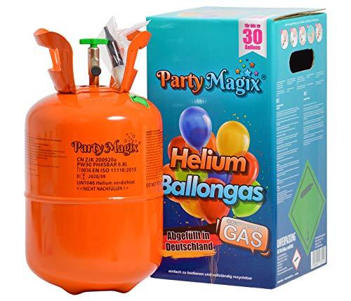 PartyMagix - Bombola Gas Elio per gonfiare circa 30 Palloncini Usa e Getta Monouso contenente Bombola e Valvola Decorazioni Matrimonio Compleanno per 30 palloncini