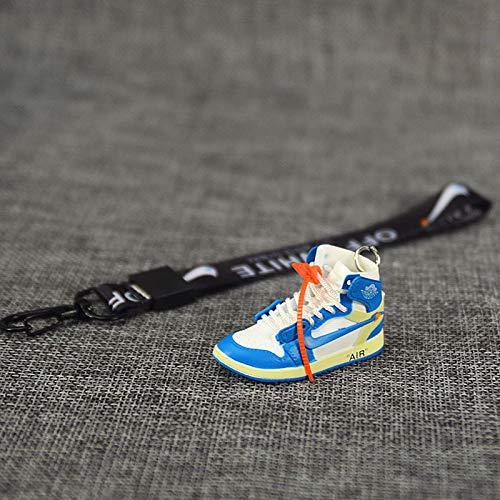ahjs456 Zapatillas de Baloncesto con Personalidad de Pareja de Marca de Marea 3D tridimensionales Adornos Jordan aj1 Bolsa de Zapatos pequeños Llavero Colgante Mochila Escolar 8