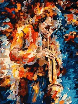 Leeg schilderen op cijfers, voor volwassenen, knutselen, voorgedrukt, voor kinderen en volwassenen, met saxofoon speler, handwerk, schilderkunst thuis, 30 x 40 cm