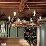 Lampadario ruota di carro rustico in legno di castagno con ferro forgiato a mano 6 luci modello uva (Legno color noce scuro struttura terra decapato oro)