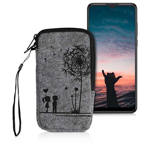 """kwmobile Handytasche für Smartphones L - 6,5\"""" - Handy Filztasche - Pusteblume Love Schwarz Hellgrau - 16,5 x 8,9 cm Innenmaße"""