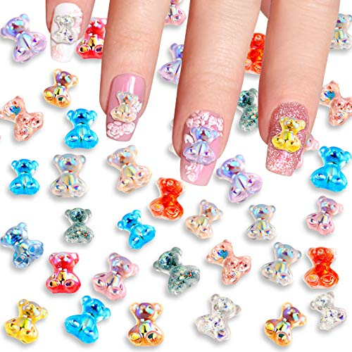 78 Pieces 3D Cute Bear Resin Nail Art Decorations Crystal Gummy Bear in 13 Styles Nail Glitter Jelly Ornaments in 3 Sizes Nails Art Accessories for Nail Art Decoration