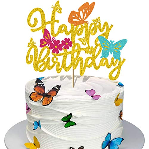Glorymoment Happy Birthday Butterfly Cake Topper Gold Glitter Butterfly Birthday Cake Topper for Kids Butterfly Themed Birthday Party Decor Girls Women's Bday Party Cake Decorations (6.7'' x 5.31'')