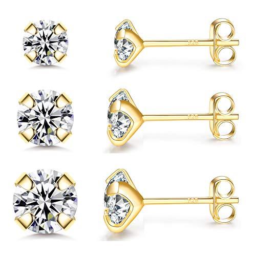 CERSLIMO Damen Ohrstecker Silber 925, 3 Paar Ohrstecker Gold Zirkonia Set, Ohrringe Stecker Silber Schmuck für Frauen Mädchen Herren 4mm/5mm/6mm