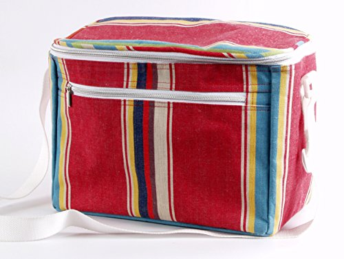 Lot de 2 sacs isothermes, extérieur coton déco, sangle bandoulière, Sac rectangulaire et porte bouteille