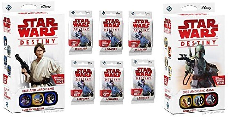 Star Wars Destiny  Legacies Starter Bundle  Luke Skywalker Starter, Boba Fett Starter, plus 6 Legacies Booster packs