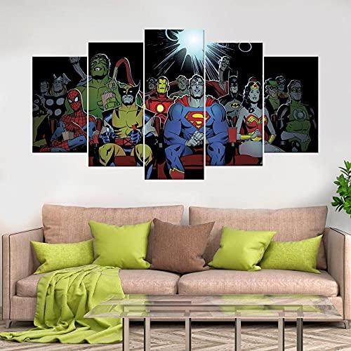 KOPASD 5 Piezas Ciudad de Noche de Arte de Pared impresión en Lienzo Superhéroes Hulk Capitán Hierro Arte Moderno para decoración del hogar