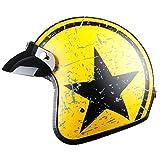 TOUKUI Casco de moto jet con cara abierta Captain Star, casco para moto vintage, piloto cafe racer helm summer@naranja negro_S