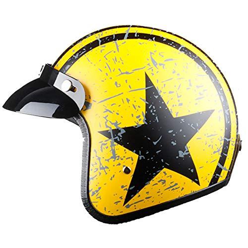 TOUKUI motorradhelm jet jethelm kapitän star cascos para moto vintage pilot cafe rennfahrer helm sommer@orange schwarz_XXL