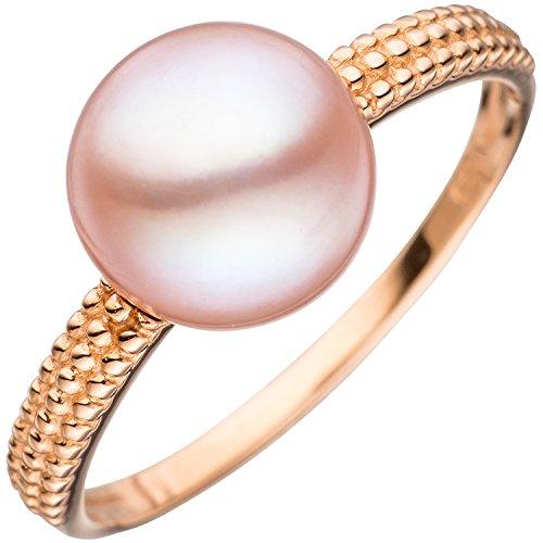 JOBO Damen-Ring aus 585 Rosegold mit Perle Größe 60