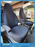 Maß Sitzbezüge Schonbezüge kompatibel mit FIAT Ducato Typ 250 Fahrer & Beifahrer ab 2006 - 2022 PL406 schwarz mit blau Nähte !