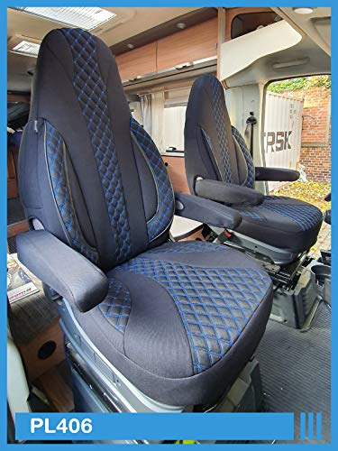 Maß Sitzbezüge kompatibel mit FIAT Ducato 250 Fahrer & Beifahrer ab BJ 2006 Farbnummer: PL406 (Schwarz/Blaue Naht)