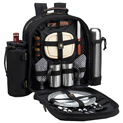 Picnic at Ascot Original Equipped 2 Person Picnic Backpack with Coffee Service, Cooler & Insulated Wine Holder - Designed & Assembled in the USA