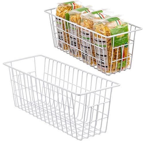 iPEGTOP - Cestino portaoggetti in filo metallico per alimenti, con manici, per armadietti da cucina, dispensa, bagno, lavanderia, armadi, garage, confezione da 2, colore: Bianco
